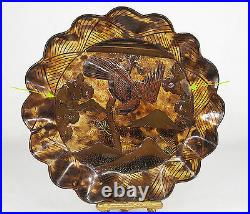 Japanese Lacquer Faux Tortoise Shell Plate Inlaid Decoration 19th century Meiji