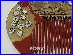 Japanese Lacquer Hair Comb. Red & Gold Lacquer. Silver. Antique Meiji