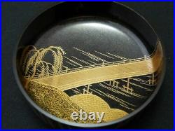 Japanese Lacquer Wooden Tea caddy Willow and Bridge makie Hira-Natsume (210)