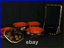 Japanese Old Wooden Lacquer Bento Box (b768)