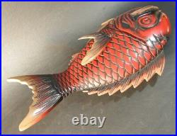 Japanese Sculpture Lacquered Sea Bream Fish Lidded Tray Plate, Wood Tray Box
