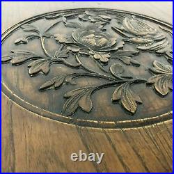 Japanese Square Lacquered Box Trunk with Carved Bird & Peony Flower Motif