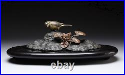 Japanese Vintage Sparrow on the Rock Bronze Ornament Lacquered Wooden Base