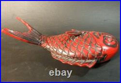 Japanese Wood Sculpture Lacquered Lidded Tray Plate Sea Bream Fish Tai 25cm