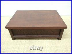 Japanese antique vintage lacquer wood 4-legged low Hikidashi chest drawer chacha