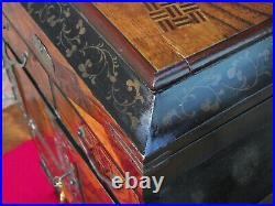 Japanese marquetry table cabinet with lacquered interior inside doors and lid