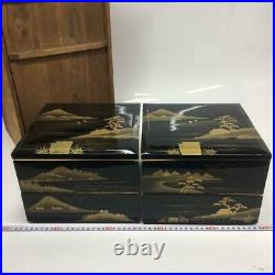 Japanese wooden Gold Makie lacquer tiered box 17cm in 2 tiers with wooden box
