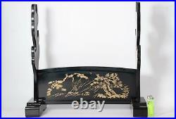 Japanese wooden Sword Rack Stand black lacquer Three Swords SWR250