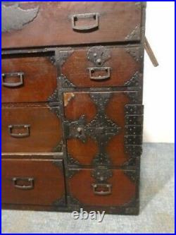 Large Antique 19th C Meij Era Japanese Lacquered Wood Tansu, Iron Fittings