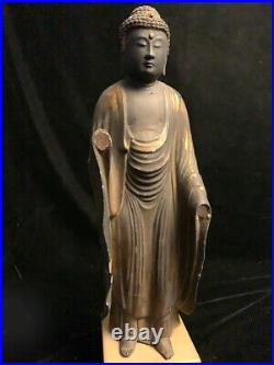 Large antique Japanese gilt lacquered wooden Buddha wi/crystal inlays Edo period