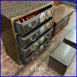 Lot of 5 Japanese Wooden Lacquered Miniature Drawer Tansu Box Bowl Set