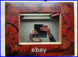 Mid century Red Lacquer Medium Mirror Frame Chinoiserie Vintage Oriental Japanes