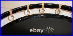 Old Japanese Mother Of Pearl Black Lacquer Round Tray