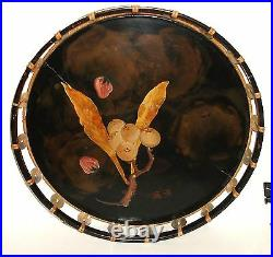 Old Japanese Mother Of Pearl Black Lacquer Round Tray Signed