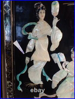 Pair of Black Lacquer Wood Panels with Mother of Pearl Mt. Fuji & Geishas 36x12
