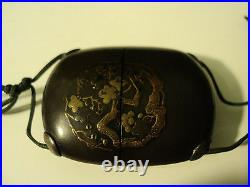RARE 19th C. JAPANESE LACQUER GILT DECORATED MINIATURE INRO