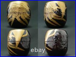 RARE! Japan Lacquer Wooden Tea caddy Robe of feathers style image Natsume 925