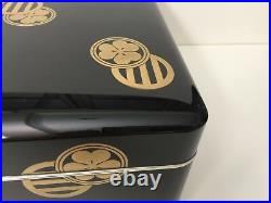 Rare Antique Meiji Period Japanese Gold & Black Lacquered Box with2 Japanese Crest