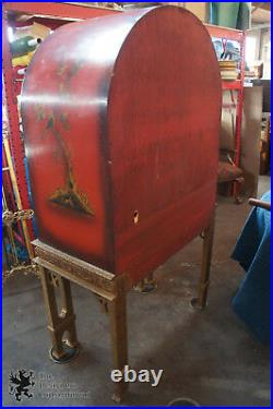Red Lacquer Gilt Japanned Cabinet Dry Bar Bookcase Curio Buffet Sideboard Domed