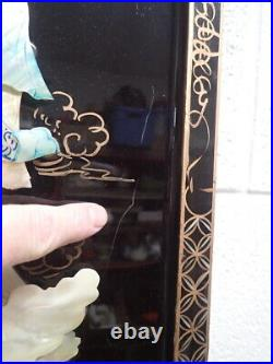 Set of Vintage Lacquer Wood Panels with Mother of Pearl Birds & Geishas 36x12