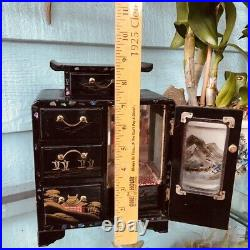 Tansu box Geisha lacquer Inlay etched music jewelry 9 hand paint Japan antique