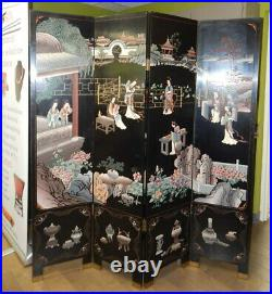 Vintage Asian carved black lacquer room divider folding screen Chinese Japanese