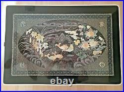Vintage Japanese Lacquer Fish Birds Flowers Folding Coffee Table RARE