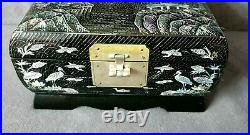 Vintage Oriental Lacquered Black Jewellery Box Crane Birds Mother of Pearl Inlay