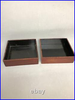 Vintage Wooden Japanese Beto Lunch Box with 11 Lacquer Trays Metal Handle
