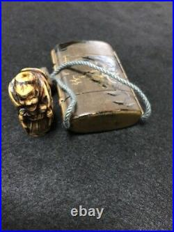 Vintage netsuke Makie Wooden Lacquer Japanese antique Inro