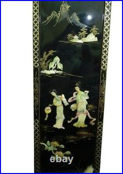Vtg Japanese Pearlmother Collage /Black Lacquer Panel Geishas & Floral 91 x 30cm