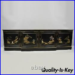 Vtg Oriental Hand Painted 90 Long Black Lacquer Japanned Low Credenza Cabinet